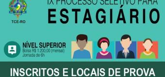 TCE-RO homologa inscritos e divulga locais das provas para estagiário