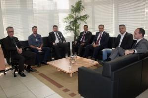 Os conselheiros Edilson de Sousa e Benedito Alves  e o secretário Marcelo Rech receberam o prefeito de Ariquemes, Thiago Flores, e integrantes de sua equipe de governo